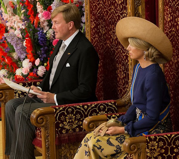 King Willem - Alexander, Queen Maxima, Princess Laurentien and Prince Constantijn Prince's Day 2016 (Prinsjesdag). wore dress, jewelry