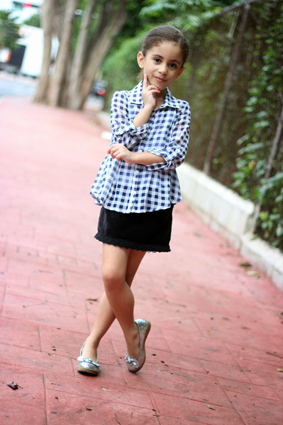 Simplicity: Checkered Shirt and Velvet Skirt