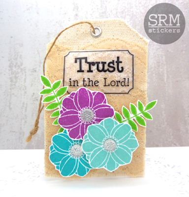 SRM Stickers Blog - Trust in the Lord by Annette - #tag #canvas #gifttag #stickers #sentiments #lace #ecru #clearstamps #janesdoodles #fancydoodles #DIY