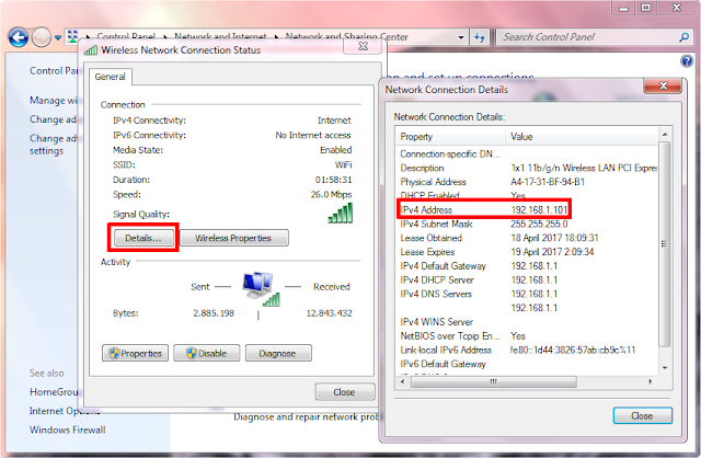Cara cek IP Address dengan Control Panel