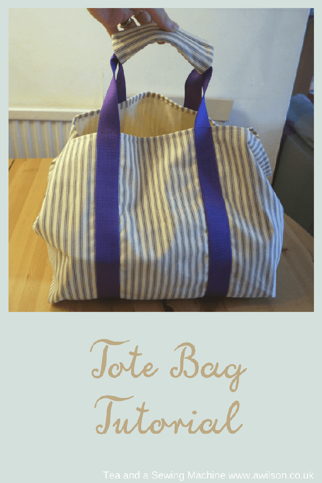 Learn how to make a tote bag, with a handle cover. Tutorial by Tea and a Sewing Machine