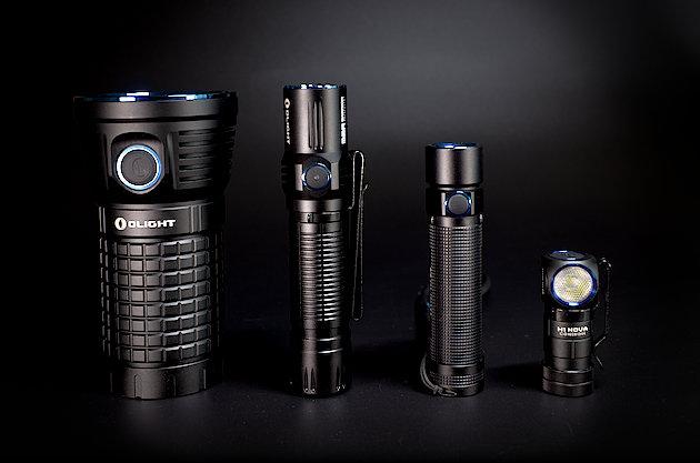 Latarki Olight. Od lewej: X7 Marauder, M2R Warrior, S2R Baton i H1 Nova