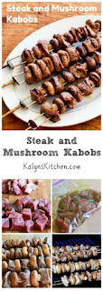 Steak and Mushroom Kabobs [from KalynsKitchen.com]