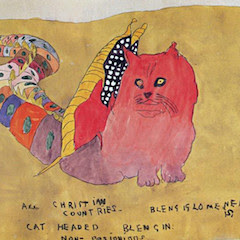A cat-headed thing by Henry Darger