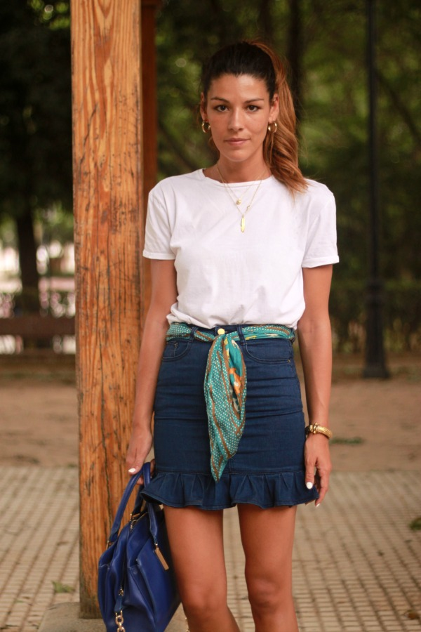 Denim skirt, falda vaquera, look diario