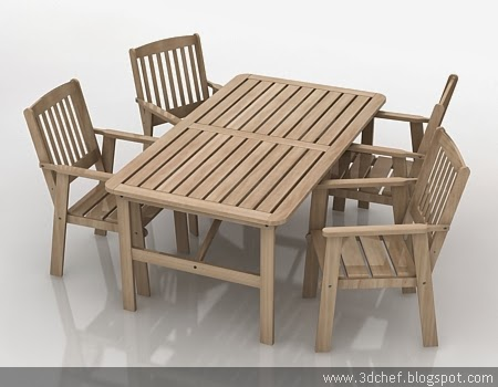 wooden table free 3d model