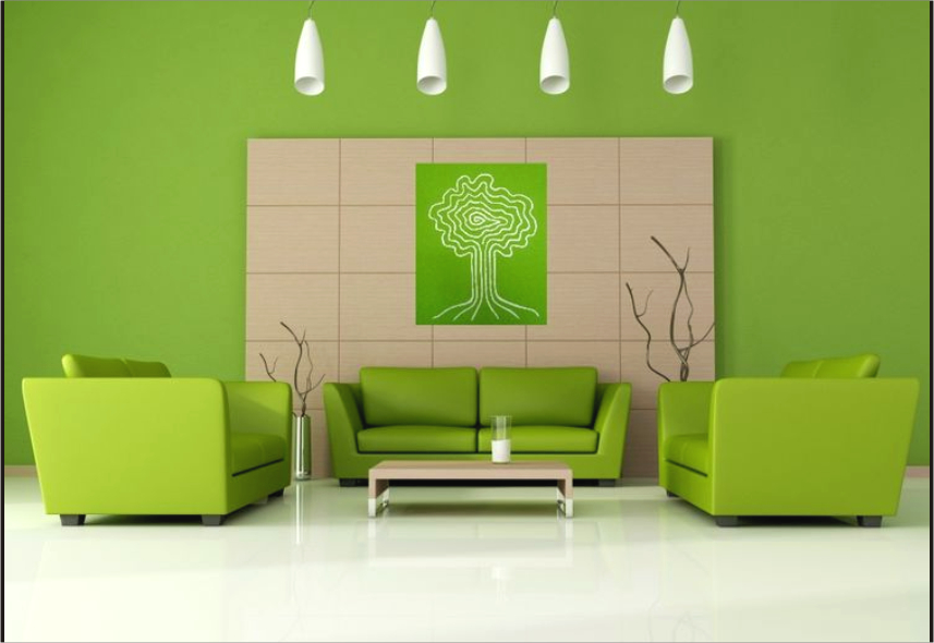relaxing colors for living room interior green color