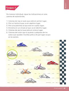 Lección 17 Carrera de autos contestada primer grado