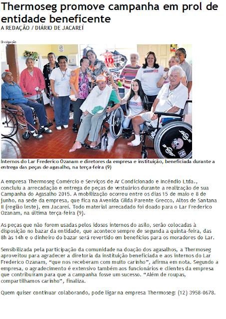 Matéria no jornal Diário de Jacareí sobre a Campanha do Agasalho 2015