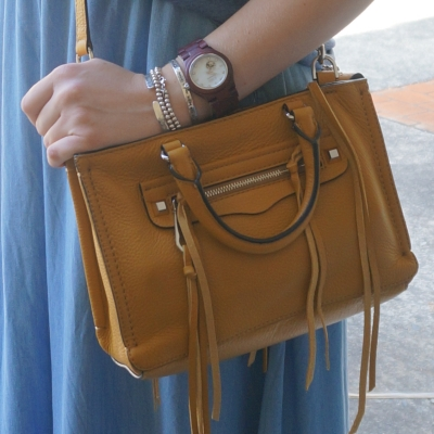 chambray maxi skirt, Rebecca Minkoff micro Regan satchel cross body bag harvest gold | Away From The Blue
