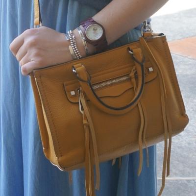 chambray maxi skirt, Rebecca Minkoff micro Regan satchel cross body bag harvest gold | Away From The Blue