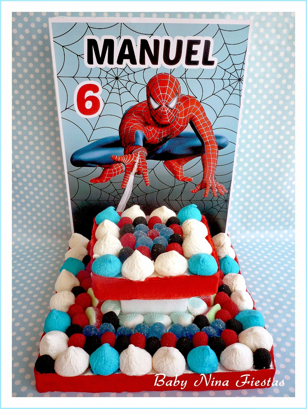 tarta de chuches spiderman