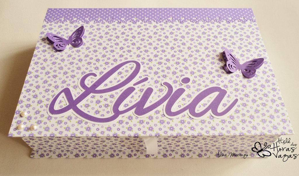 kit livro de mensagens e caixa decorada jardim encantado floral lilás roxo borboleta aniversário menina