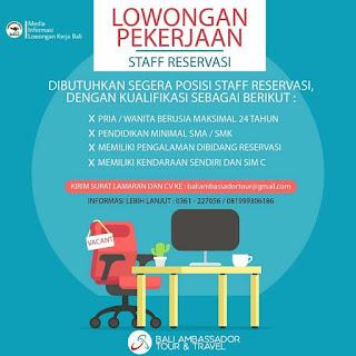Info Lowongan Kerja Staff Reservasi Bali Ambassador Tour & Travel