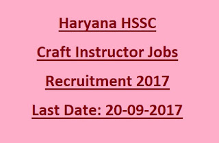 Haryana HSSC Craft/ Computer Instructor, Computer Operator & Programming Assistant Instructor Govt Jobs recruitment Exam 2017