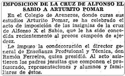 Noticia sobre la imposición de la Cruz Alfonso X el Sabio a Arturo Pomar