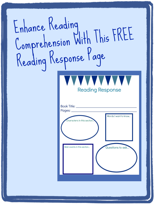 free reading response journal page; reading comprehension