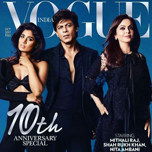 Mithali Raj Looks Stunning on Vogue October 2017 Cover With Shahrukh Khan and Neeta Ambani