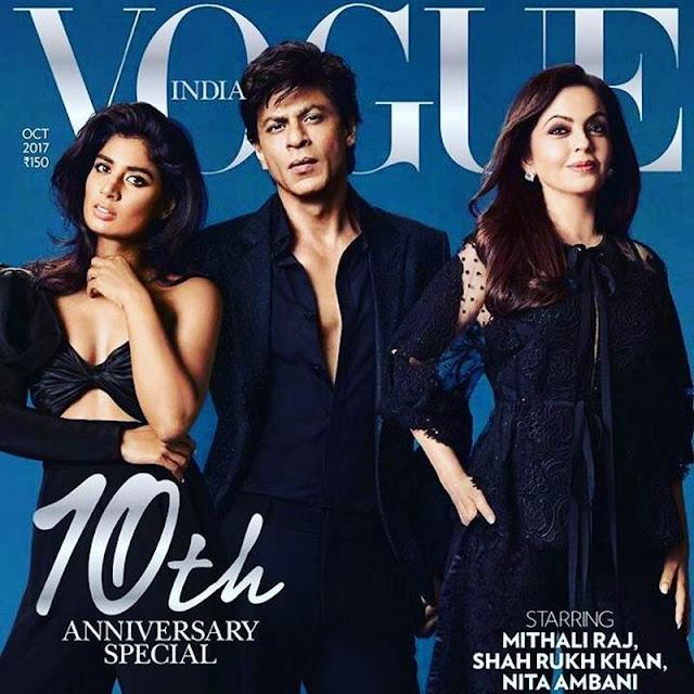 Mithali Raj Looks Stunning on Vogue October 2017 Cover With Shahrukh Khan and Neeta Ambani