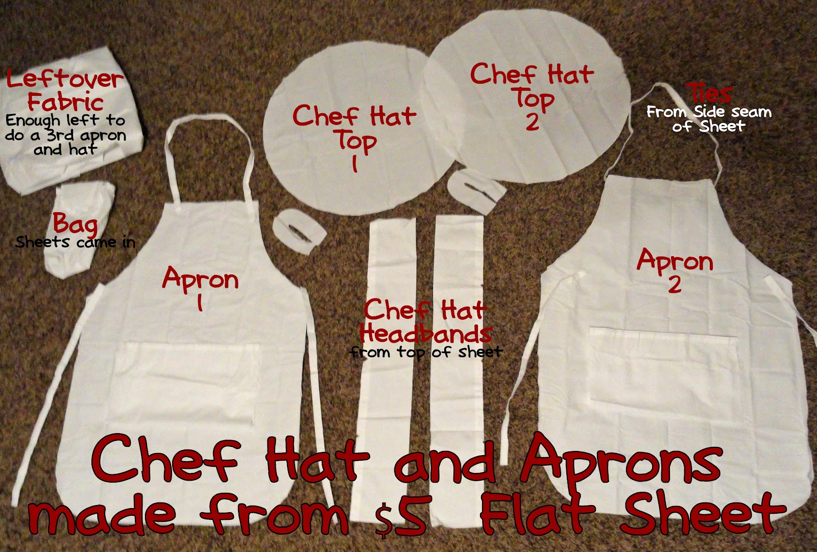 we love being moms child 39 s chef hat and apron tutorial. Black Bedroom Furniture Sets. Home Design Ideas