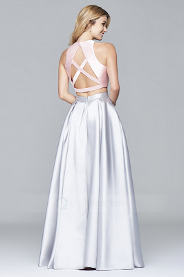 Princess Floor-length Crossed Straps Back Two Piece Dress with Two Tone -Back