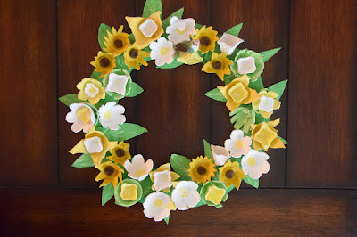 yellow and green egg carton wreath
