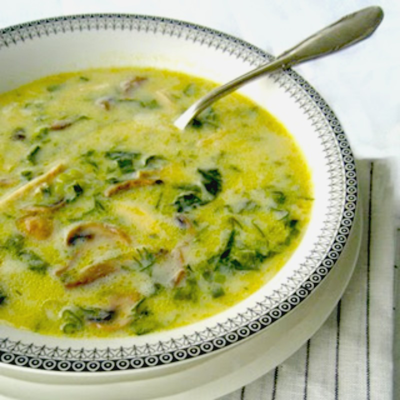 Vegi Mageiritsa (Greek Easter soup) with mushrooms