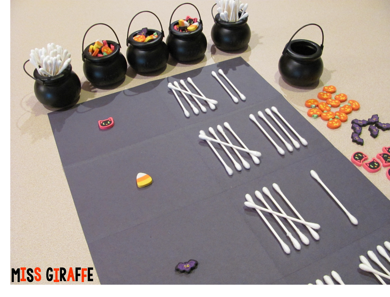 Use Halloween mini erasers and cotton swabs as spooky bones to practice tally graphing! Directions for a fun Halloween math center!