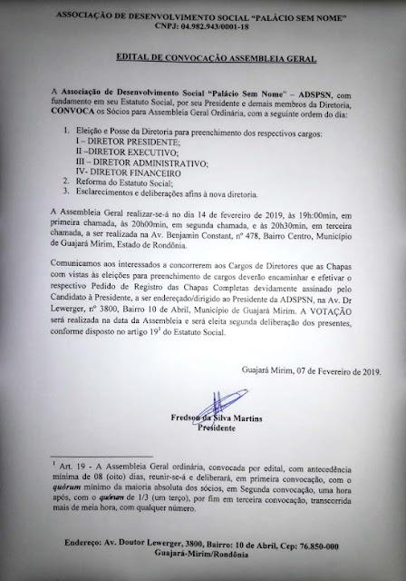"""Edital de Convocação - Associação """"Palácio Sem Nome"""""""