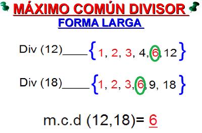 Resultado de imagen de maximo comun divisor
