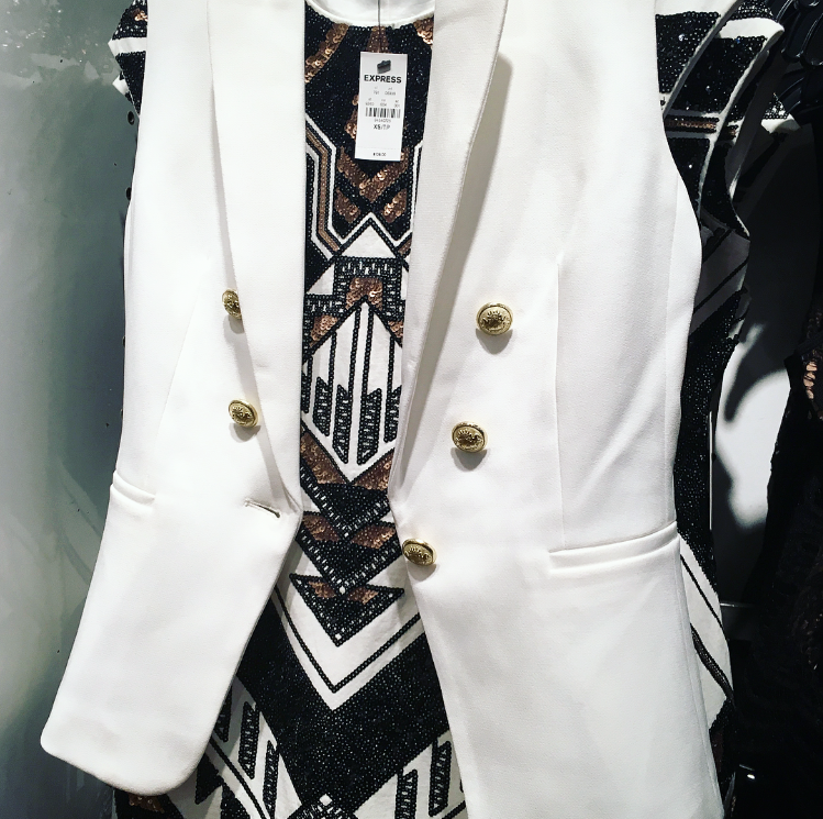 Express Double Breasted Vest Deco Sequin Embellished Dress