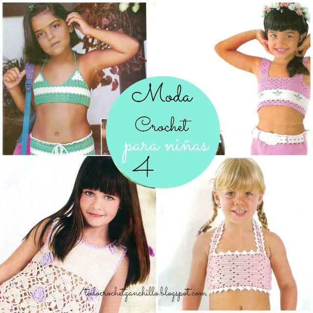4 patrones de blusas y faldas para nenas al crochet