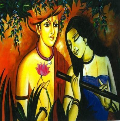 Beautiful Modern Art Radha Krishna Picture