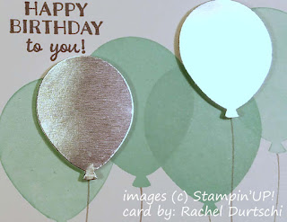 Balloons are always fun and a bunch of them is even better.  This card, made by Rachel Durtschi, features balloons from a set called Party Pants.
