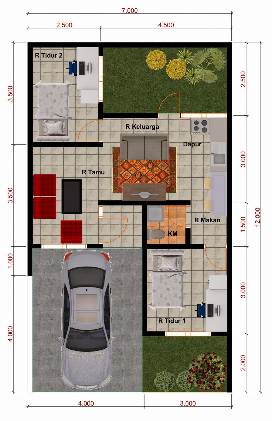 Desain Rumah Minimalis Perumahan Griya Mas Sidoarjo - Denah Type 45