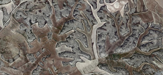 abstract bas-relief,Spain fields from the air, abstract expressionist photography, abstract landscape, fantasy imaginary forms, abstract surrealism