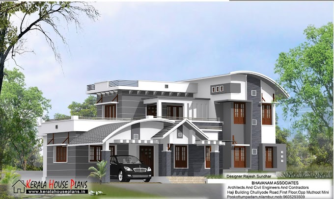 Modern 2600 sqft. Mixed Roof House Design