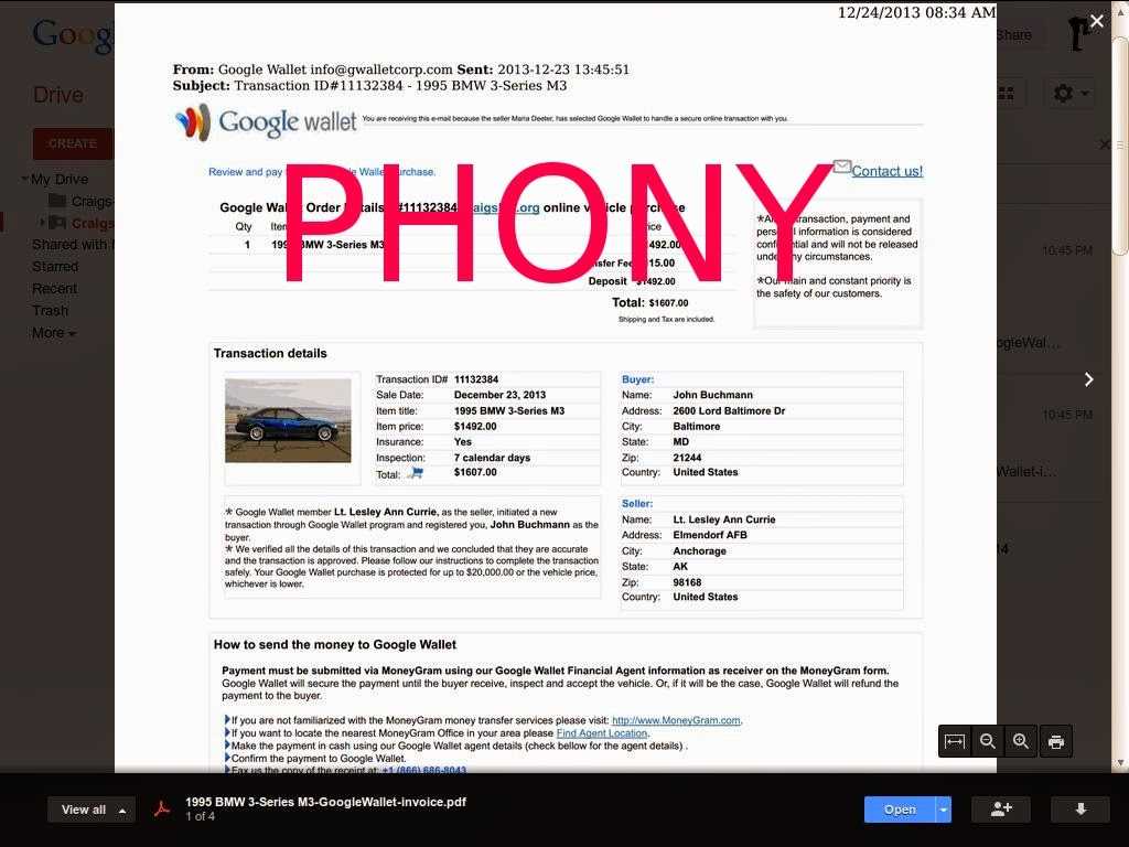 Vehicle Scams Google Wallet Ebay Motors Amazon Payments Ebillme Western Union Money Gram Etc What Does A Google Wallet Phony Invoice Look Like You Ask