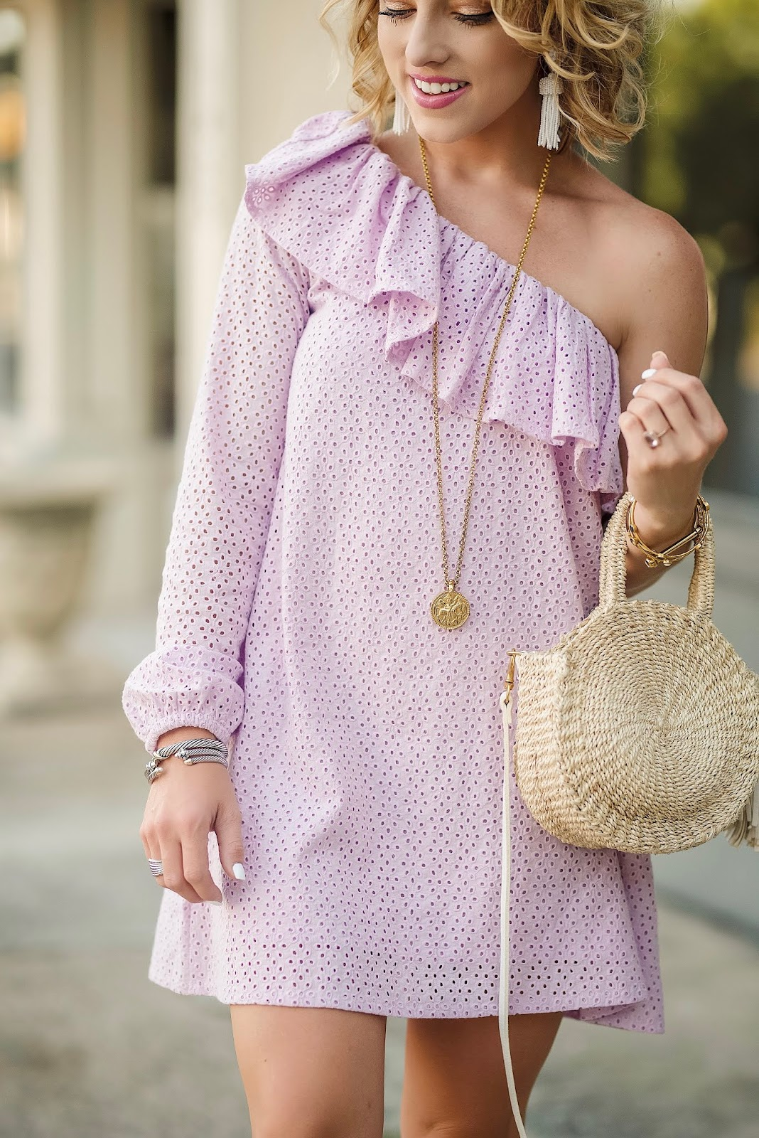 Under $100 Lavender Eyelet One Shoulder Dress - Something Delightful Blog