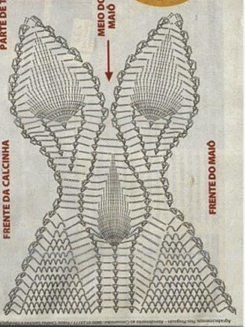 Très LE GATTE COI TACCHI: Schema trikini all'uncinetto- Schema body  LX55