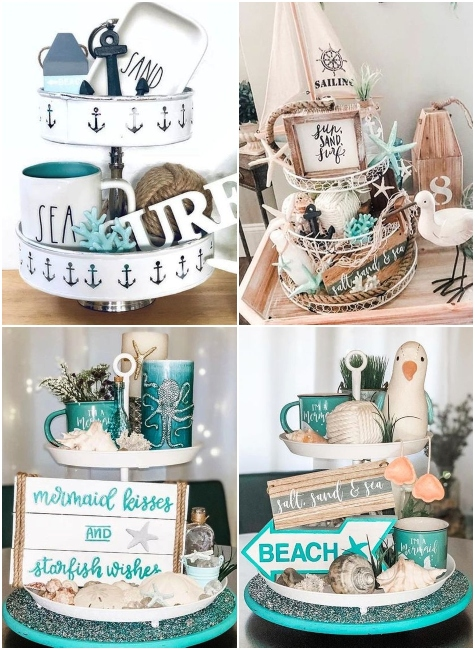 Tiered Tray Displays Coastal Beach Nautical Theme