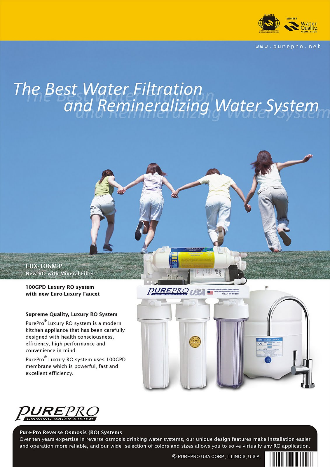 PurePro® LUX-106M-P Reverse Osmosis Water Filtration System