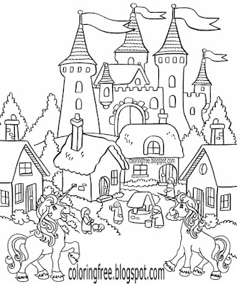 Lost village storybook legendary magic castle fantasy kingdom unicorn coloring sheet teens activity