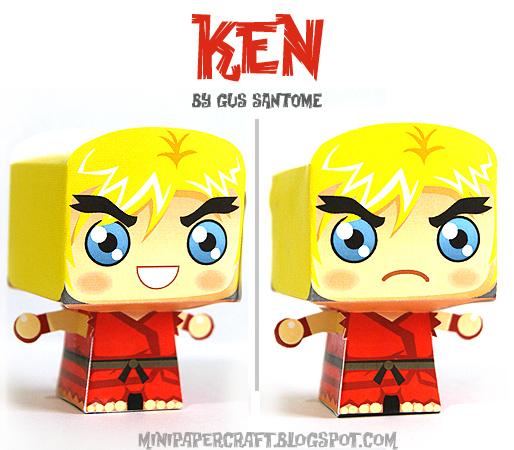 โมเดลกระดาษ street fighter ken master papercraft