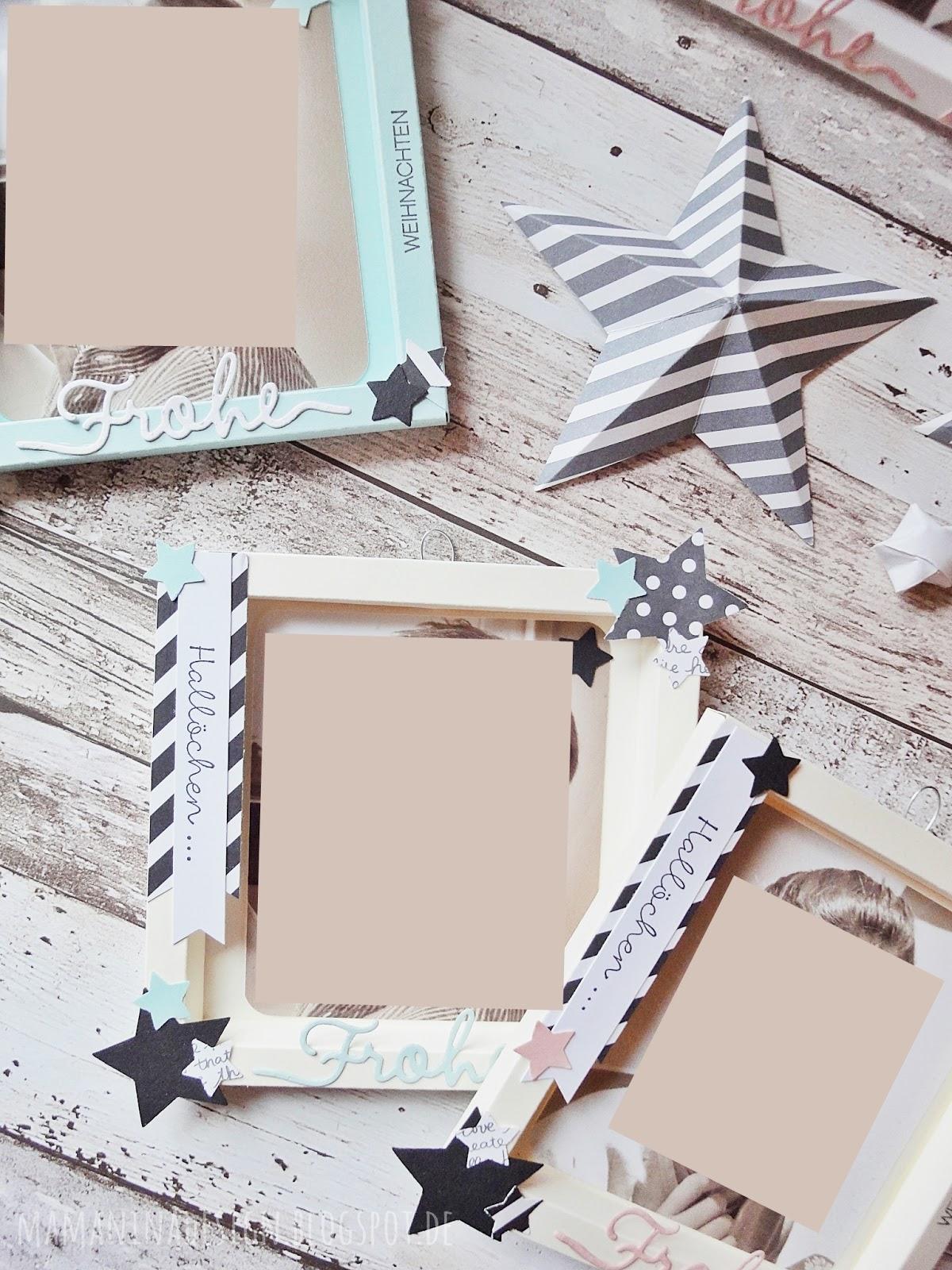 mama nina: Bilderrahmen aus Papier mit selbstgebastelter Aufhängung