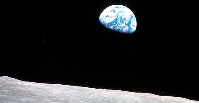 "An image of Earth from the moon. Astronauts who see this firsthand often report intense awe called the ""overview effect."" (NASA)"