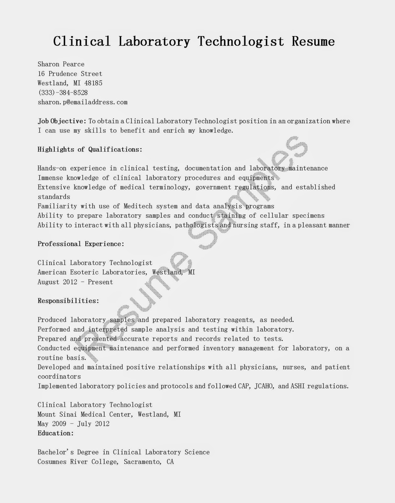 sample resume for clinical laboratory scientist