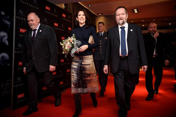 Crown Princess Mary of Denmark attended, as patron of the Brain Injury Association, the gala premiere of the movie 'Concussion' at the Imperial Cinema