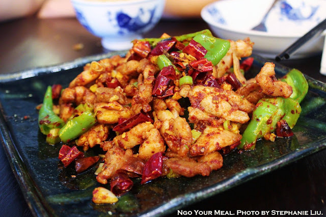 Three Pepper Chicken: Stir-friend with red and green chili peppers and peppercorn at Cafe China