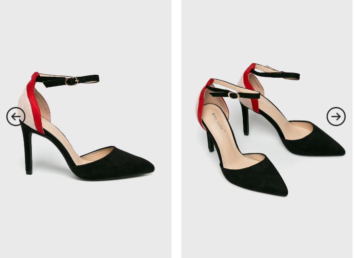 Pantofi cu toc inalt decupati eleganti negri din piele intoarsa